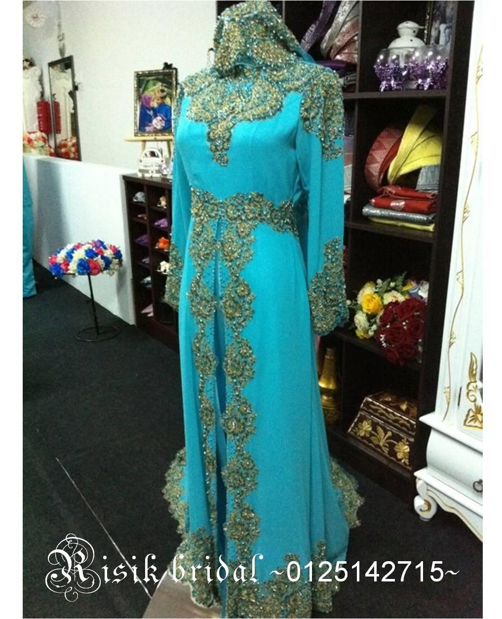 Busana Pengantin - Turquoise Blue dgn Gold details