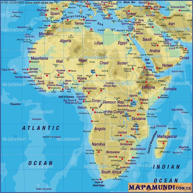 Mapamundi Mapa de Africa fisico