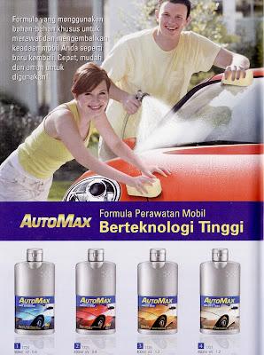 AUTOMAX: Formula Khusus Perawatan Mobil Berteknologi Tinggi. Formula yang menggunakan bahan-bahan khusus untuk merawat dan mengembalikan keadaan mobil Anda seperti baru kembali. Cepat, mudah, dan aman untuk digunakan.