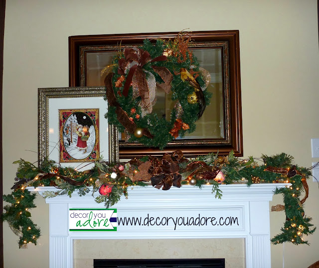 copper-christmas-garland, christmas decor, mantle-accessories