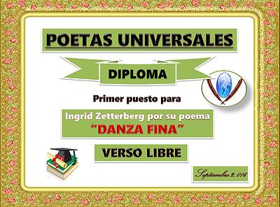 """Diploma de Primer puesto a mi poema """"Danza fina"""" en el foro Poetas Universales en Setiembre 2,016"""