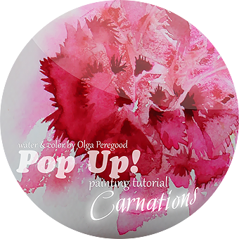 my third carnations watercolor painting tutorial Pop Up!