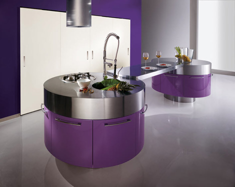 Purple Kitchen Cabinets Design