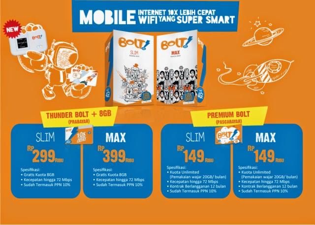 Paket Internet Bolt 4G Isi Ulang Kuota Internet Modem Bolt Mobile Wifi Slim Max