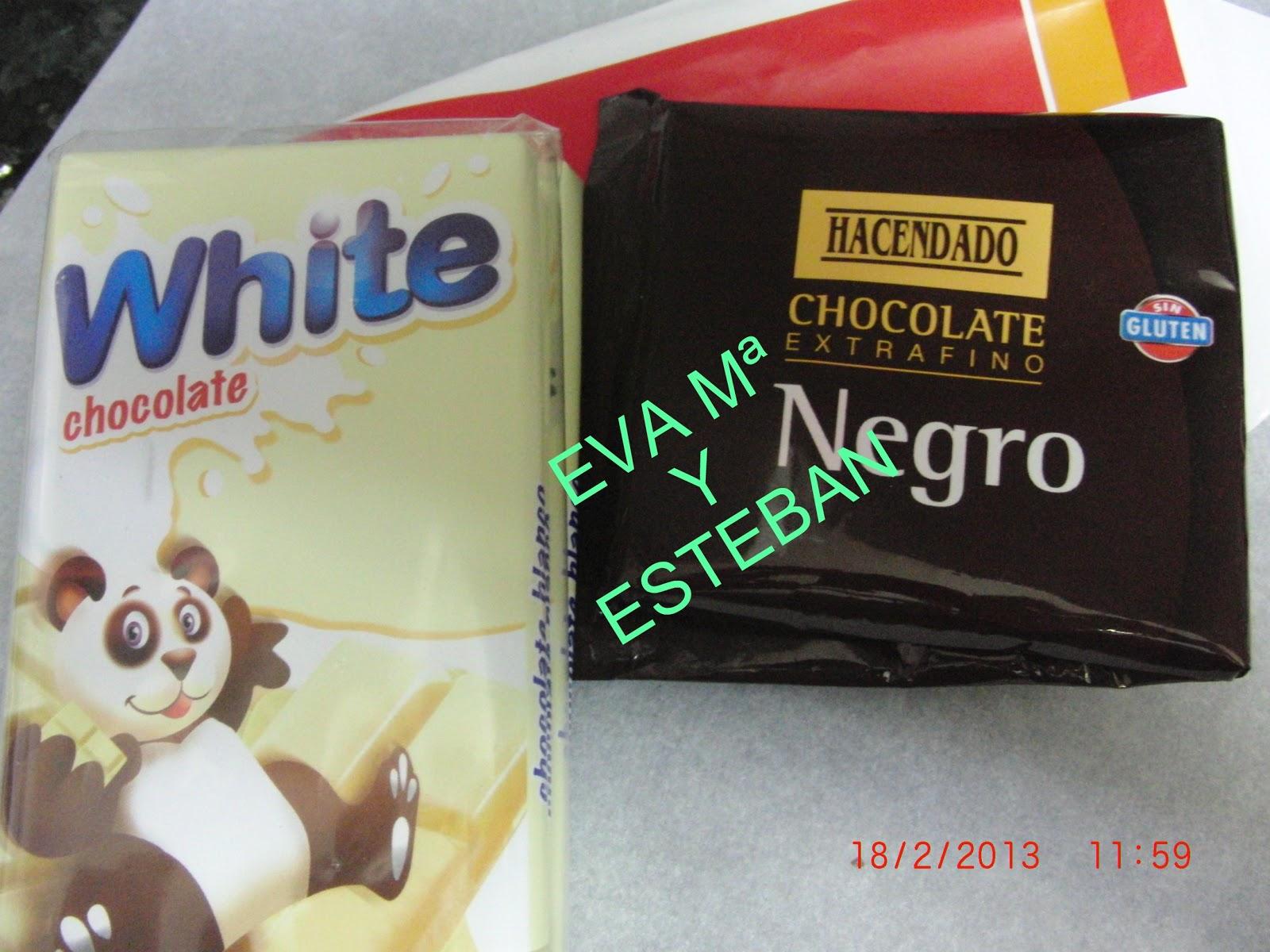 Bonito Al Baño Maria: el chocolate blanco y el chocolate negro y lo fundimos al baño maria