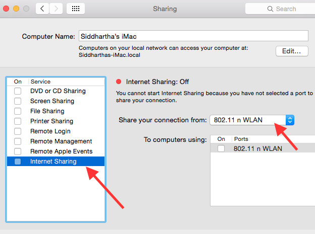 how to share internet connection in Mac