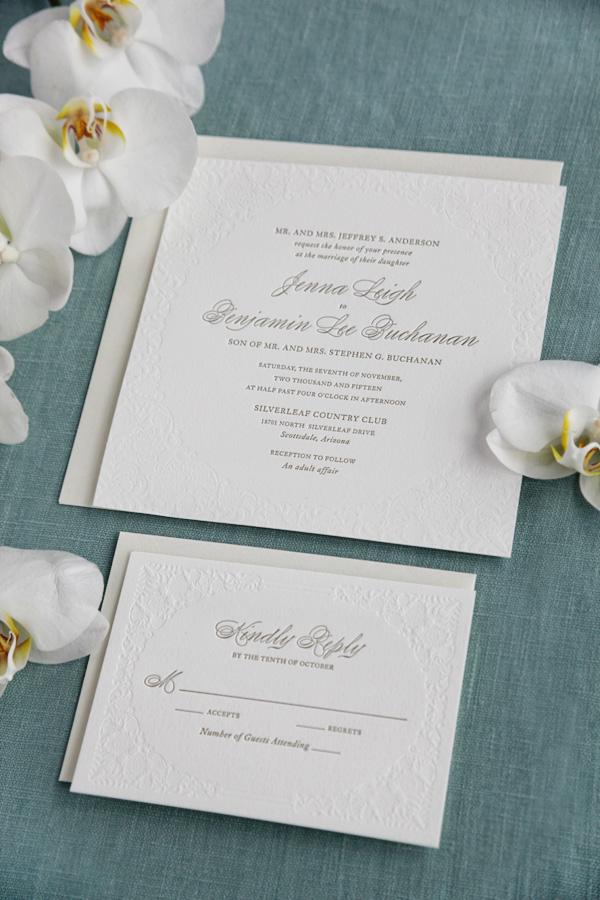 Black Tie Letterpress Wedding Invitation