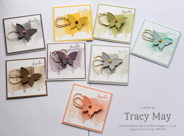 Stampin' Up! 3x3 Elegant Butterfly Cards Tracy May Card Making ideas classes