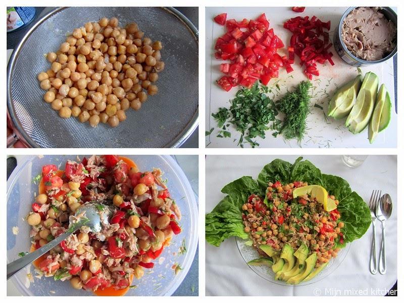 Mijn mixed kitchen kikkererwtensalade met tonijn tomaat en avocado - Maak een dressing ...