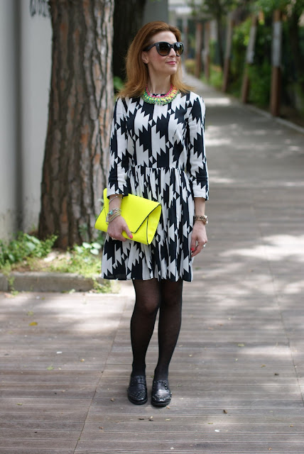 Asos black and white dress, Zara clutch