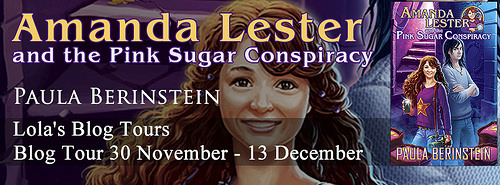 Blog Tour: Amanda Lester and the Pink Sugar Conspiracy by Paula Berinstein – Guest Post: Lights, Action, Book Cover!