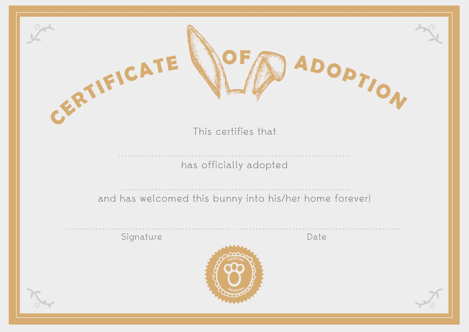 You Are In Good Company Good On Paper Bunny Adoption Certificate