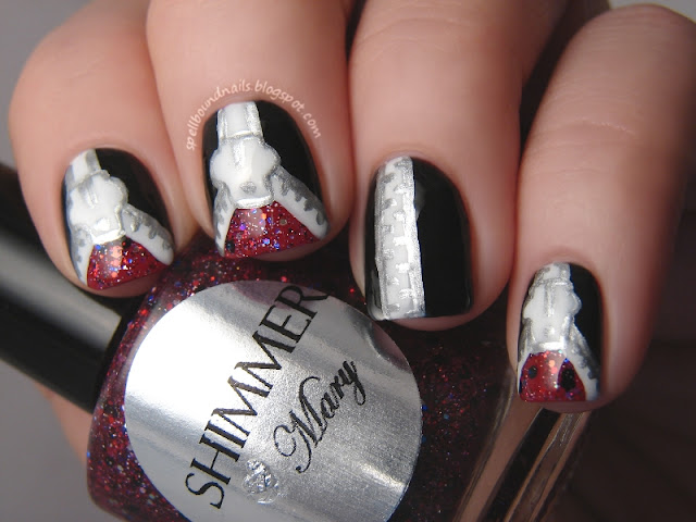 nails nailart nail art mani manicure polish Spellbound Lacquer ABC Challenge Z is for Zipper Zippers tutorial Shimmer Polish Mary black silver white red China Glaze Adventure Red-y L.A. LA Colors Circuits Energy Source Pure Ice Silver Mercedes glitter unzipped