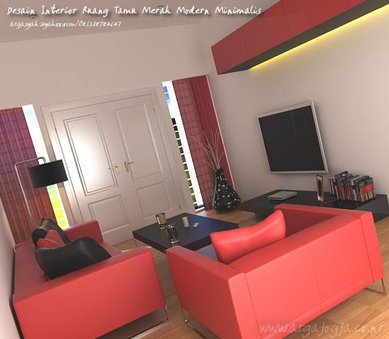 Desain Interor Ruang Tamu Modern Minimalis Merah