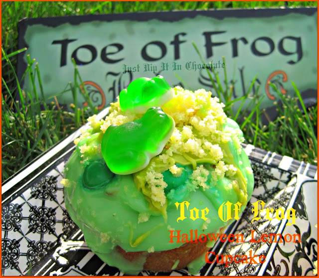 "Toe of Frog Halloween Lemon ""Poke"" Cupcake Recipe, bring this magical creatures into your home! they are sweet and fun! The perfect Halloween cupcake for those who celebrate with a whimsical theme!"