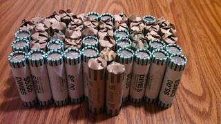 Coin Roll Hunting Dimes Golden Eagle CRH dime coin rolls
