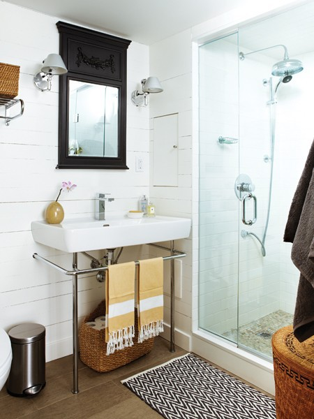 I m loving shiplap walls  antique dressers converted into vanities   lanterns  and sconces in the bathroom  and small hexagonal tile on the  floor. High Cotton  Guest Bath Inspiration