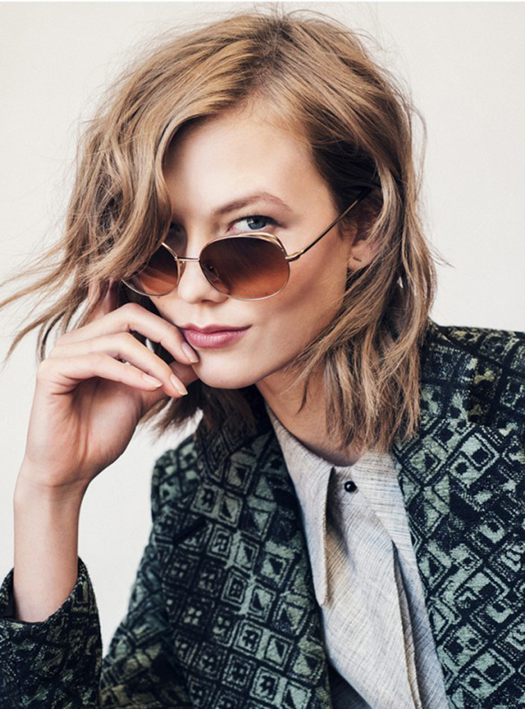Karlie Kloss for Warby Parker, campaign image in the Clara sunglasses