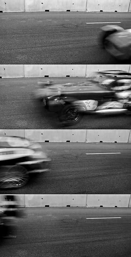 Imagem obtida pela edição de quatro fotos de um carro em diferentes posições, por forma a evidenciar a velocidade