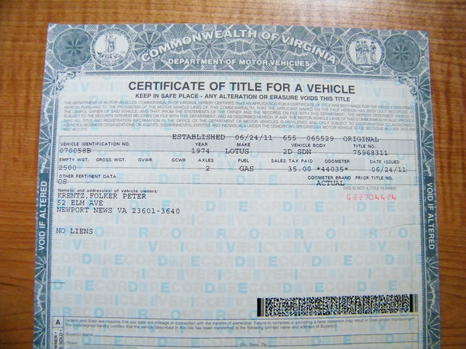 New Car Title Michigan Address Change