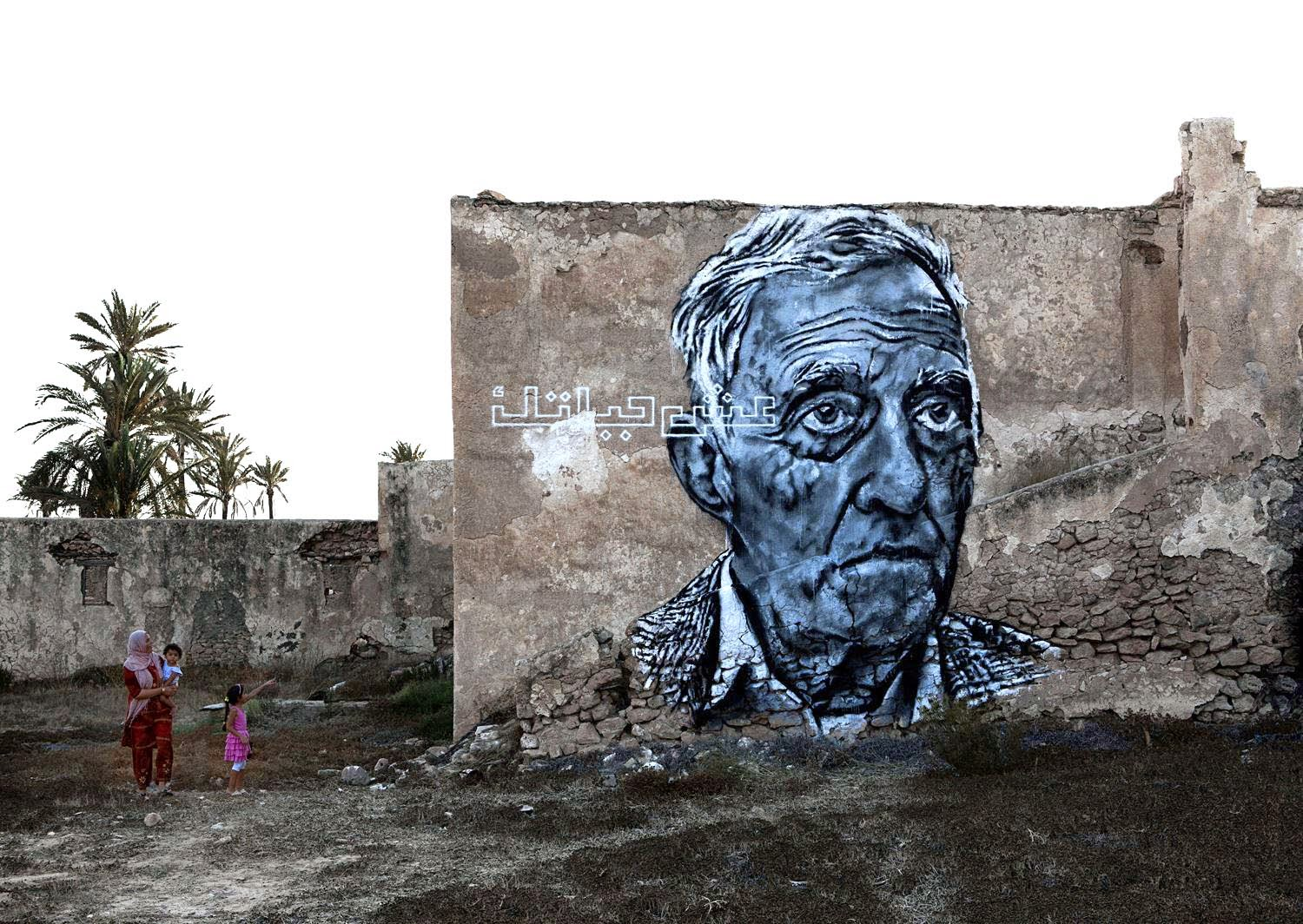 Ecb also stopped by the island of Djerba in Tunisia to paint in the city of Erriadh for the Djerbahood project.