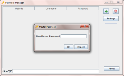 Creating master password