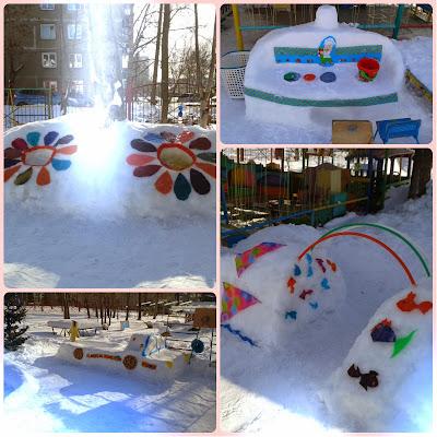 Снежные фигуры на нашем участке. Воспитателям детских садов. - Маам. ру