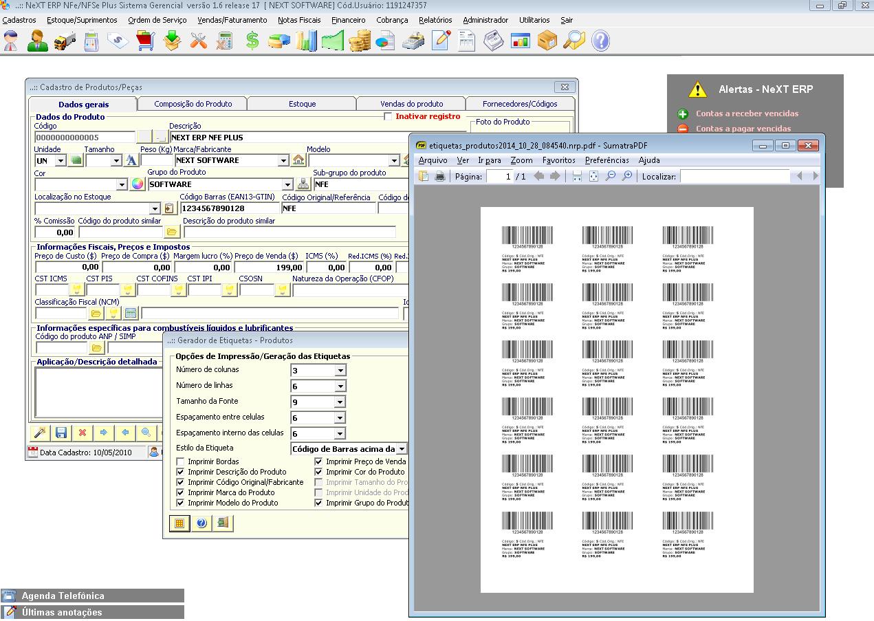 NeXT ERP 1.6.17 Etiquetas com código de barras produtos