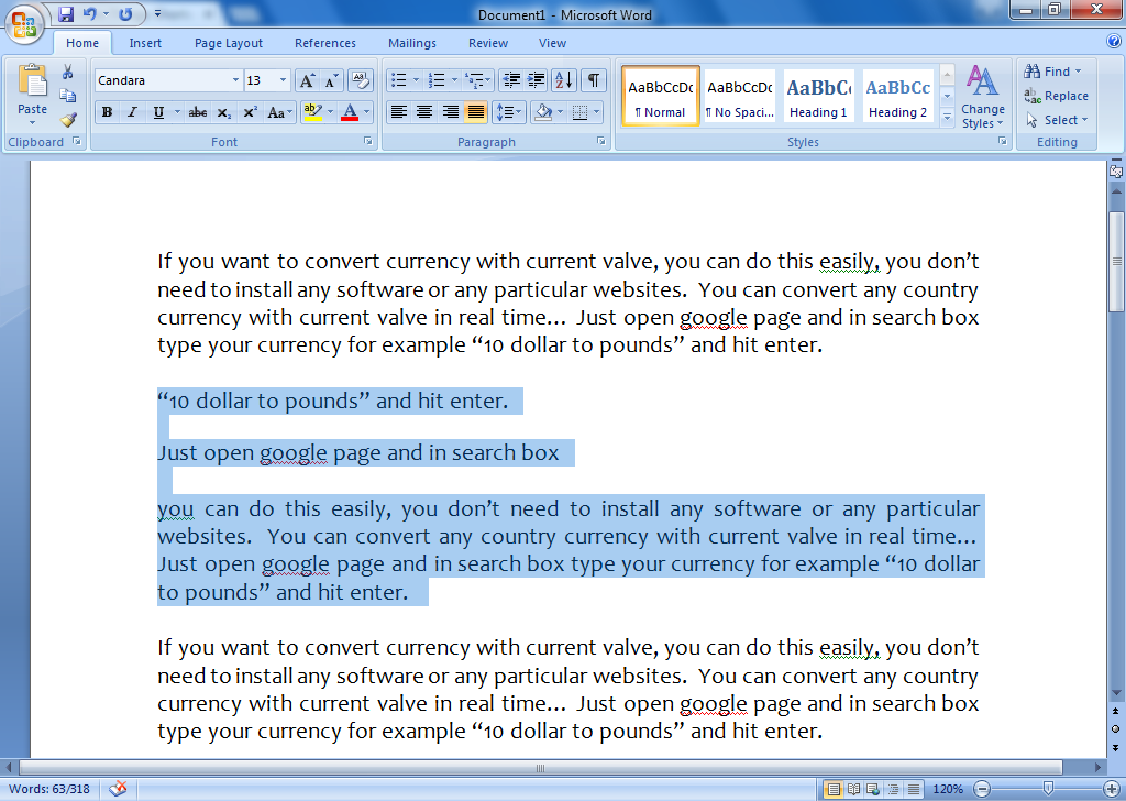 Shortcut Key to Move Lines & Paragraph Up/Down in MS Word