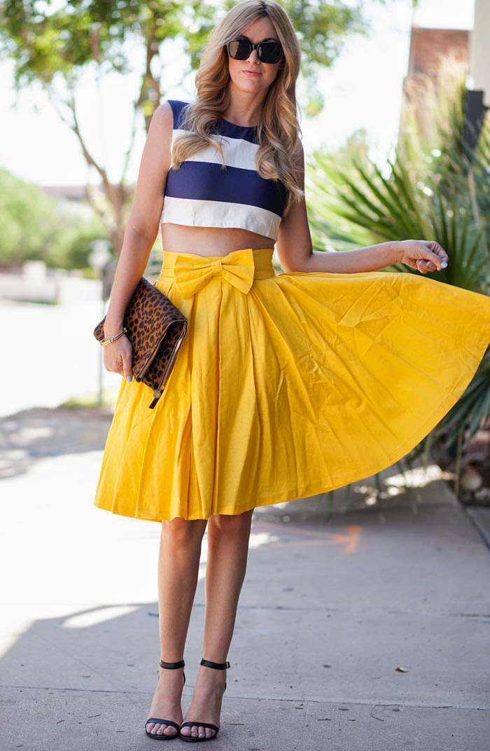 Clare Vivier, Calf-Hair Clutch, Leopard Clutch, Clutch, Claire Vivier Clutch, Steve Madden, Steve Madden Realove, Steve Madde Ankle Strap, Ankle Strap Heels, Yellow Skirt, Yellow Midi Skirt, Midi Skirt, Full Skirt, Leanne Barlow, Bow Skirt, Take a Bow Skirt, Bow, Bow Belt, Crop Top, ASOS, ASOS Crop Top, Stripe Crop Top, ASOS Stripe Crop Top, Celine, Celine Sunglasses, Caitlin Bangle, Elaine Turner, Rock the Boat, Essie, Essie Blue Nail Polish, Blue Nail Polish, Essie Rock the Boat, Elaine Turner Caitlin Bangle, Black Sunglasses, Summer Outfit, Spring Outfit, Spring Ensemble, Summer Outfit Inspiration, Outfit Inspiration, Fashion Blog, Fashion Blogger, Caitlin Lindquist, A Little Dash of Darling, Dash of Darling, Michelle Herrick, Michelle Herrick Photography, Arizona Fashion Blog, Arizona Fashion Blogger, Phoenix, ASOS Blog, Arizona Photographer, Bows