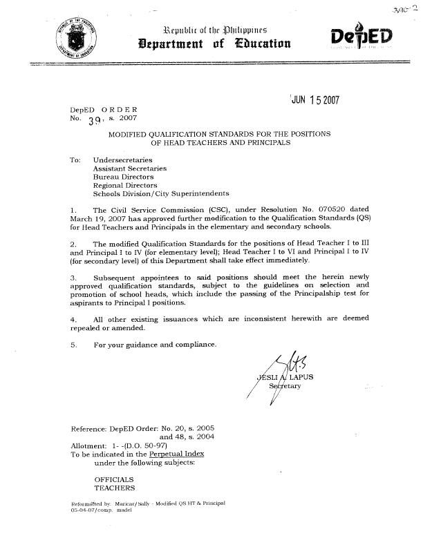 Deped memos orders results qualification standards for head qualification standards for head teachers and principals spiritdancerdesigns Images