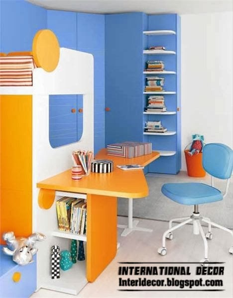childrens table design with bookshelf in orange