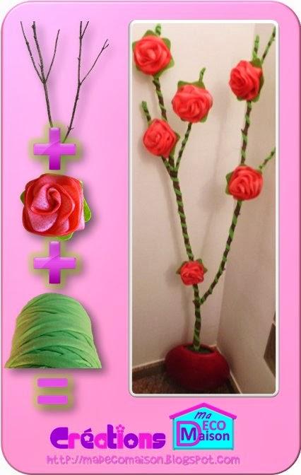 tronc fleuri avec des éponges