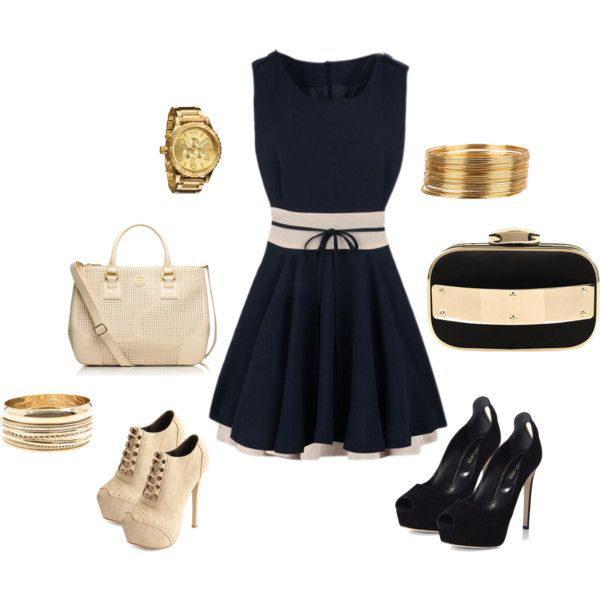 Cute Navy Dress Casual Outfit