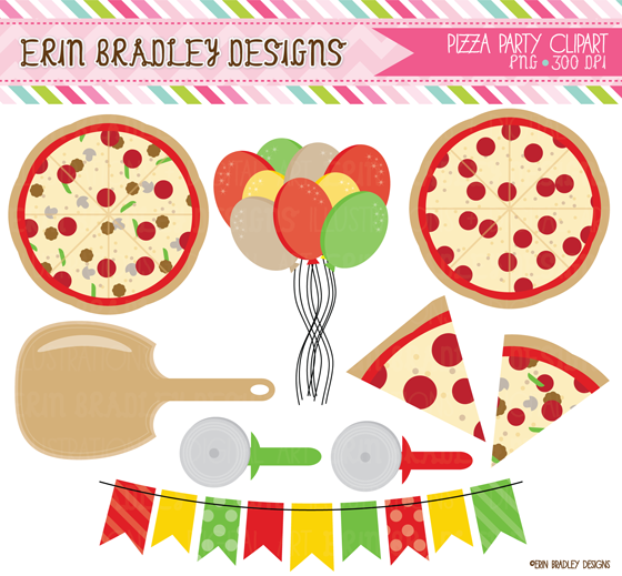 Erin Bradley Designs: Pizza Party Clipart & Digital Papers