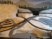 Completed model road build with Woodland Scenics Smooth-It