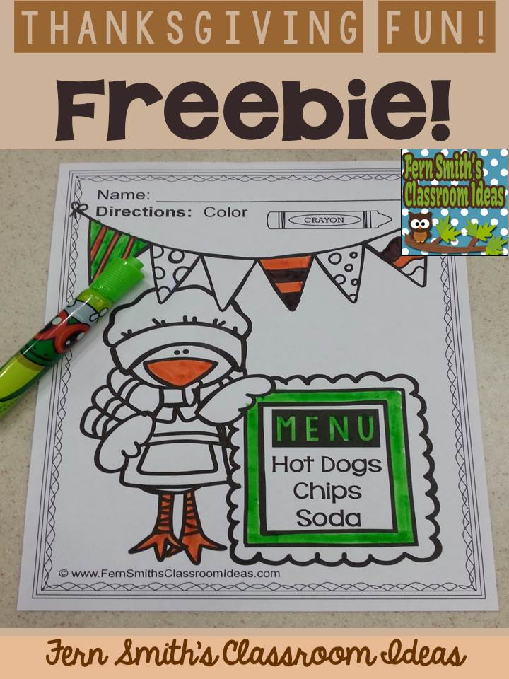 Fern Smith's Classroom Ideas Tuesday Teacher Tips: Thanksgiving Fun! Color For Fun Printable Coloring Pages FREEBIE