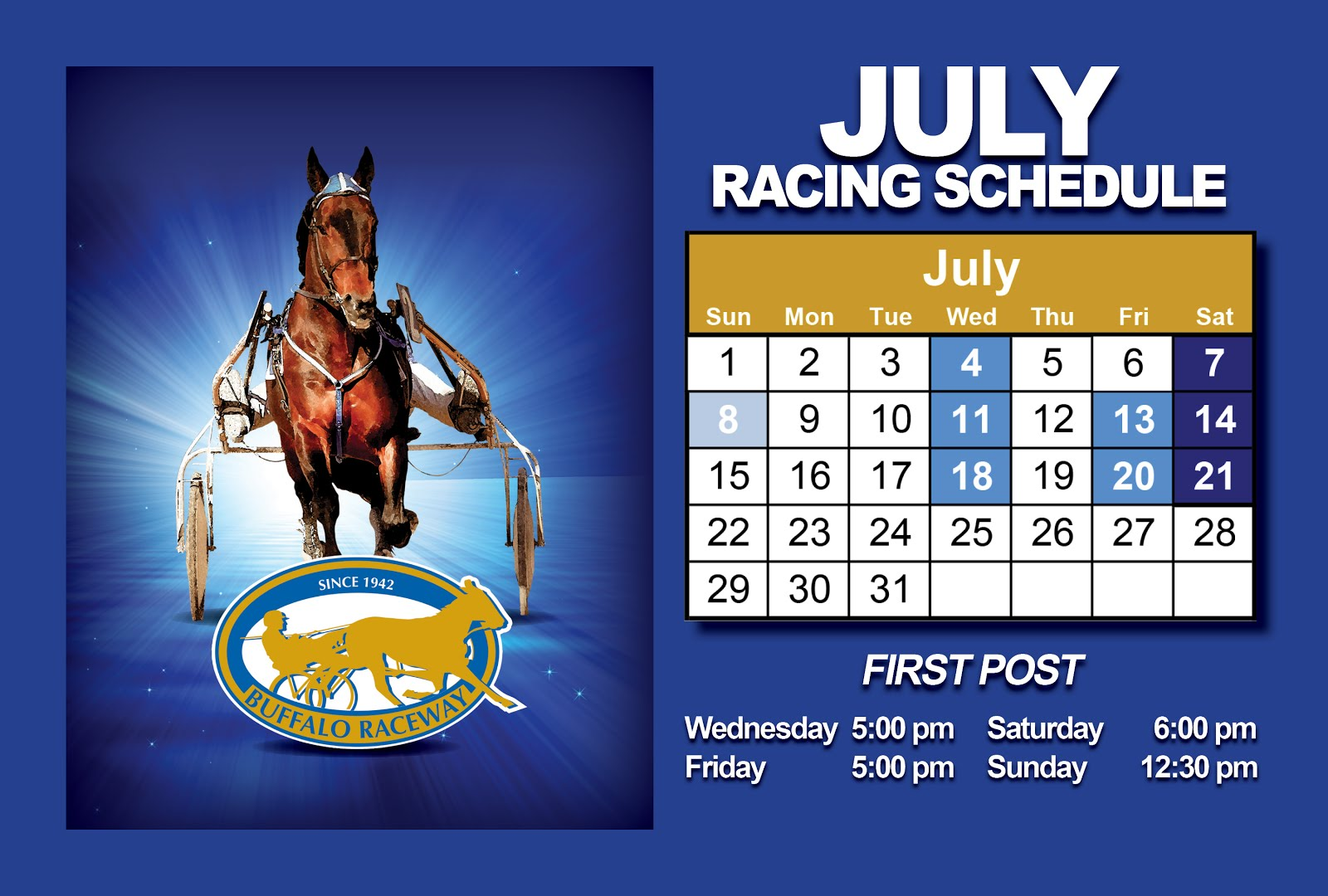 July's Live Racing Schedule