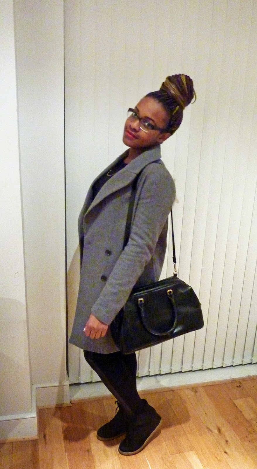 Zara Double Breasted Wool Grey Coat H&M Leather Panel Leggings Treggings Topshop Wedge Trainers