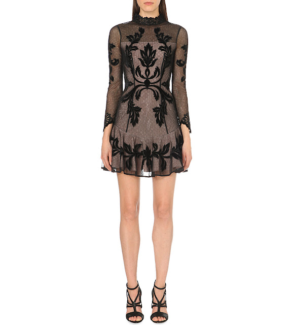 karen millen embroidered dress, black embroidered sheer mini dress,