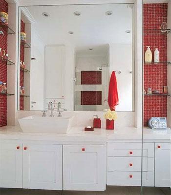 #474541 REFORMA É TUDO DE BOM..LENEKARMO Banheiro Preto e  350x400 px banheiros pequenos simples e aconchegantes