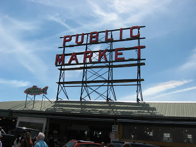 Pike Place Market sign from downtown.