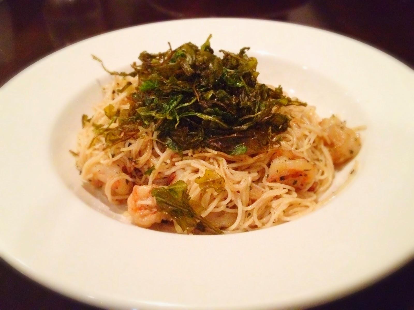 angel hair pasta tiger prawns cointreau fried rocket