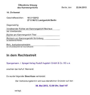"Kammergericht Berlin, Urteil im ""Grill-Spengemann-Prozess"", Verkündigung am 06.05.2013 um 12:00 Uhr"