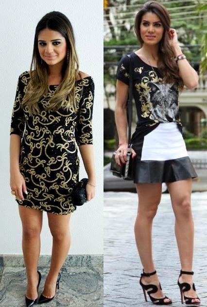 Blogueiras Thassia Naves e Camila Coelho com estampa barroca