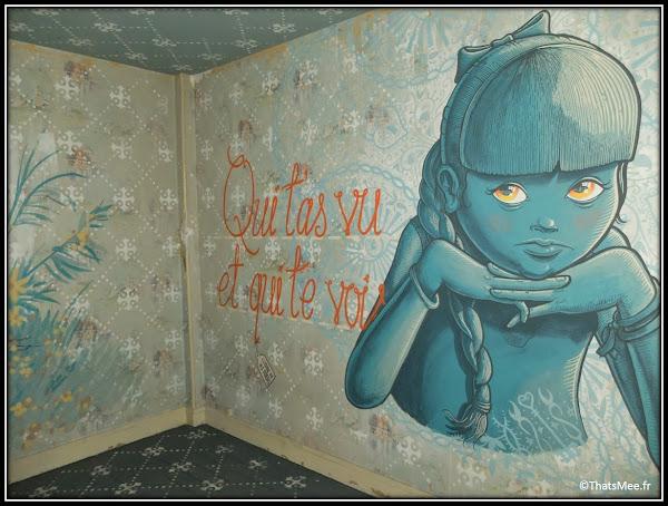 Tour Paris 13 Mario Belem street art petiet fille bleue Qui t'as vu et qui te voit