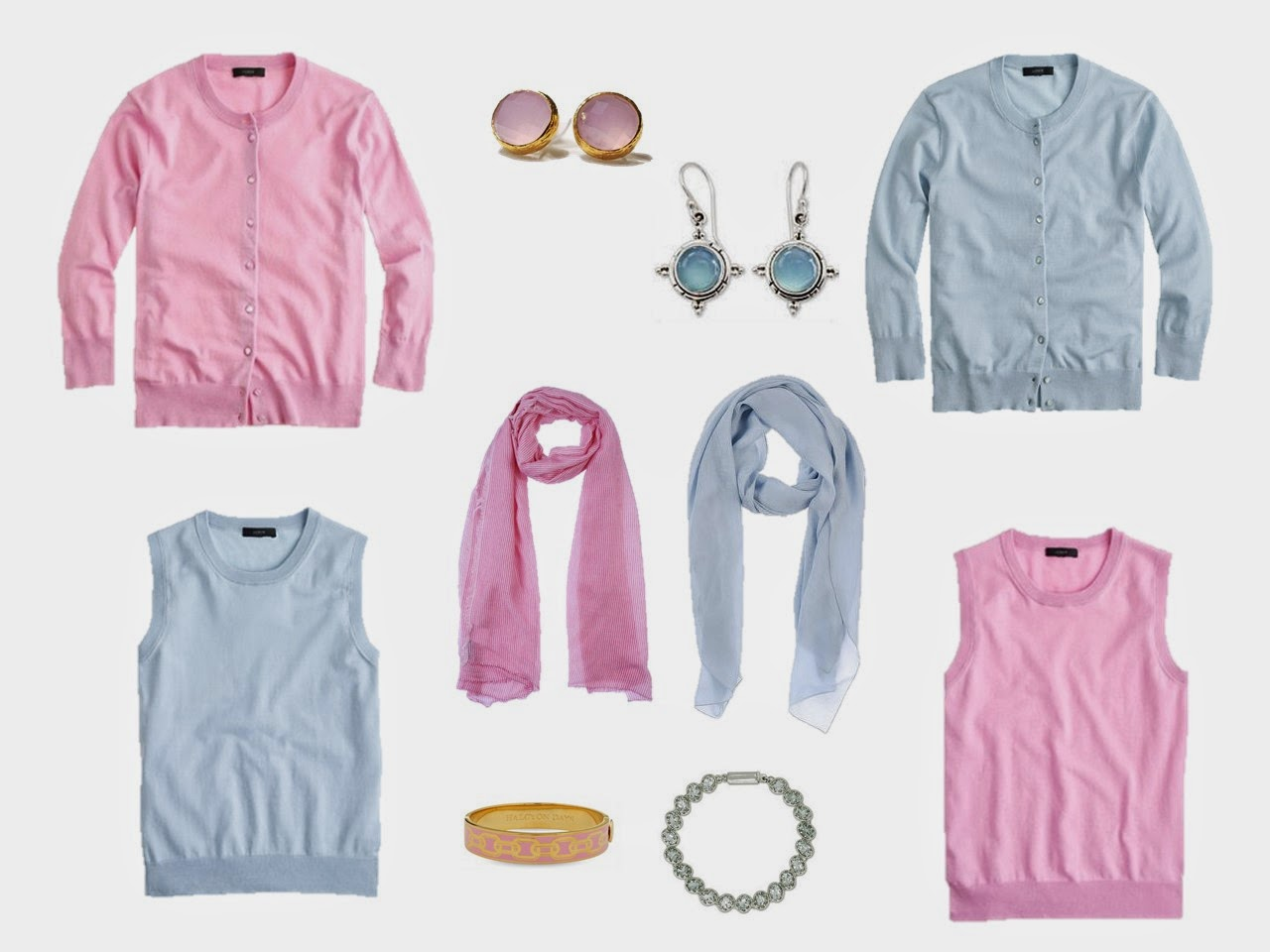 pale pink sweater set and pale blue sweater set with related accessories