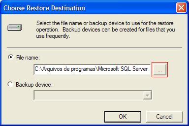 Selecionando o arquivo para restaurar DB's