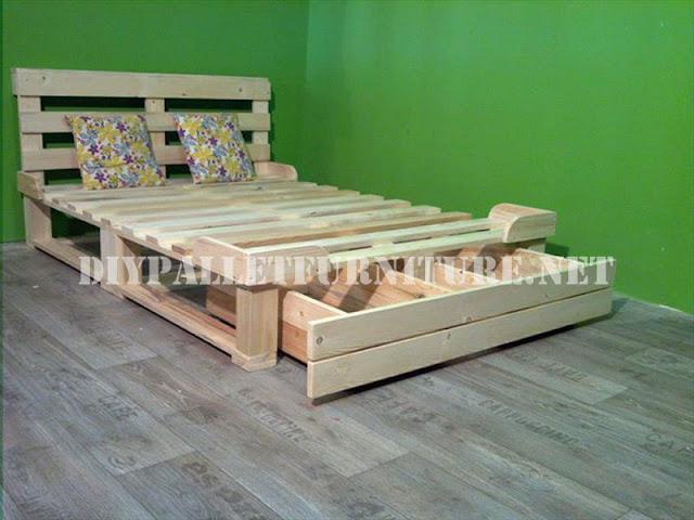 Estructura de cama con cajoneras - Estructuras con palets ...