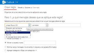crear regla outlook correo